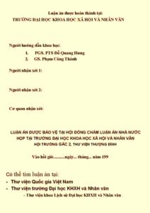 Bìa luận án phó tiến sĩ của Nguyễn Mạnh Hùng