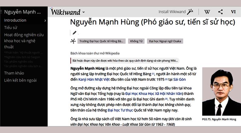 THÁNH ĐỊA Việt Nam học – NHÀ SÁNG LẬP – Phó giáo sư Tiến sĩ sử học NGUYỄN MẠNH HÙNG